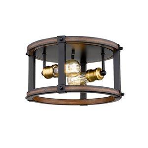 Plafonnier Kirkland de Z-Lite à 2 ampoules, acajou rustique, 12,75 po