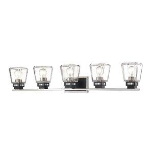 Luminaire de vanité pour salle de bain Jackson de Z-Lite à 5 ampoules, noir mat et nickel brossé
