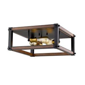 Plafonnier Kirkland de Z-Lite à 3 ampoules, acajou rustique, 16,25 po x 16,25 po