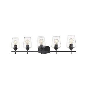 Luminaire de vanité pour salle de bain Joilet de Z-Lite  à 5 ampoules, fini noir mat