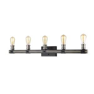 Luminaire de vanité pour salle de bain Kirkland de Z-Lite à 5 ampoules, planche de grange cendrée