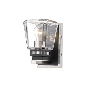 Z-Lite Jackson 1 Light Wall Sconce - Brushed Nickel and Matte Black - 6.25-in x 8-in x 4.75-in