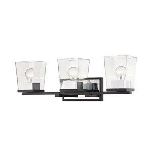 Luminaire de vanité pour salle de bain Bleeker Street de Z-Lite à 3 ampoules, noir mat et chrome