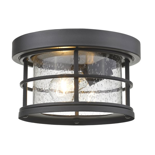 Z-Lite 1-Light  Outdoor Flush Mount Ceiling Light - Black Finish