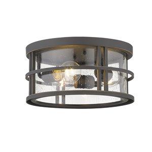 Plafonnier extérieur Jordan de Z-Lite à 3 lumières, bronze et verre clair