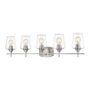 Luminaire de vanité pour salle de bain Joilet de Z-Lite à 5 ampoules, fini nickel brossé