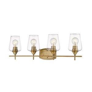 Luminaire de vanité pour salle de bain Joilet de Z-Lite à 4 ampoules, fini laiton antique