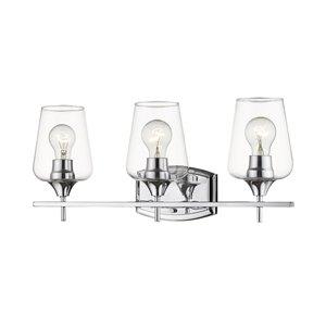 Luminaire de vanité pour salle de bain Joilet de Z-Lite à 3 ampoules, fini chrome