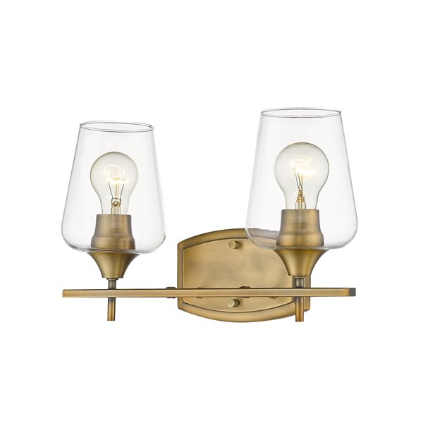 Z-Lite Joliet 2 Light Vanity and Clear Glass in Old Brass Finish