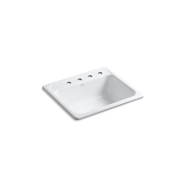 Évier de cuisine Mayfield de KOHLER K-5964-4, installation sur surface, blanc