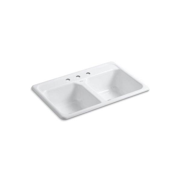 Évier de cuisine KOHLER K-5817-3 à installation sur surface Delafield, blanc