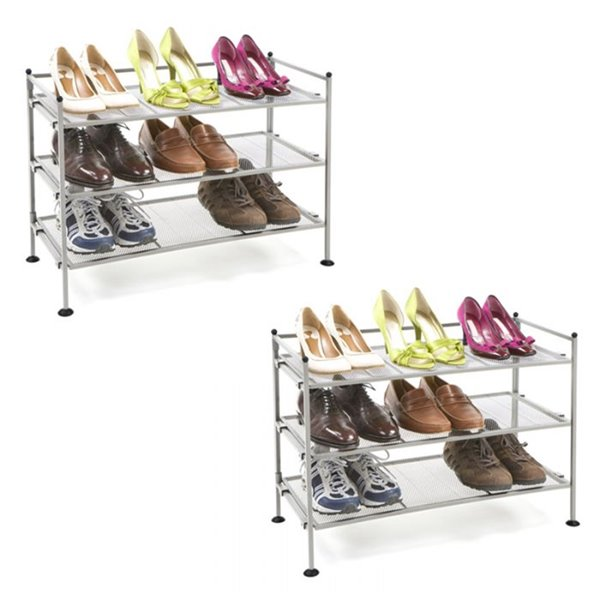 Seville Classics 3-Tier Shoe Rack - for 18 Pairs - Satin Pewter - Pack of 2