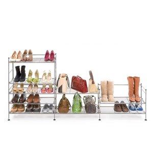 Support à chaussures à 3 niveaux Seville Classics, pour 18 paires, étain satiné, ens. de 2