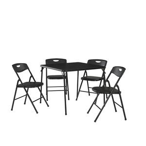 Cosco Folding Table and Chair Set - 5 Pieces - Black