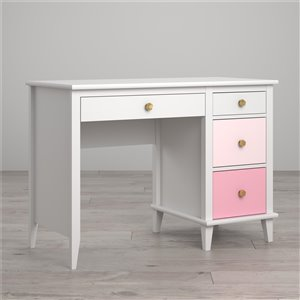 Bureau blanc de Monarch Poppy Hill Enfants, Tiroirs Rose