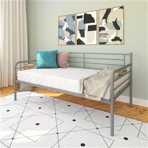Canapé-lit en métal DHP, argent