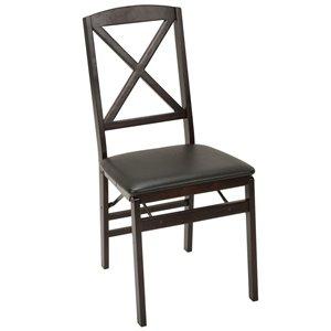 Chaise pliante avec en bois et vinyle de Cosco, Espresso