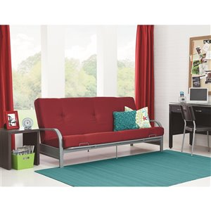 Silver Metal Arm Futon Frame Mattress - 6-in