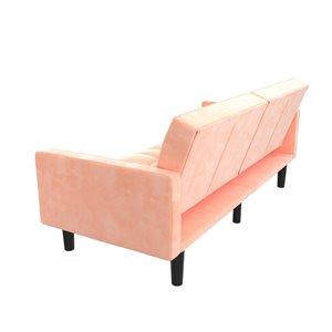 Dorel Harper Convertible Sofa Sleeper Futon with Arms - 33.5-in x 78-in -  Pink