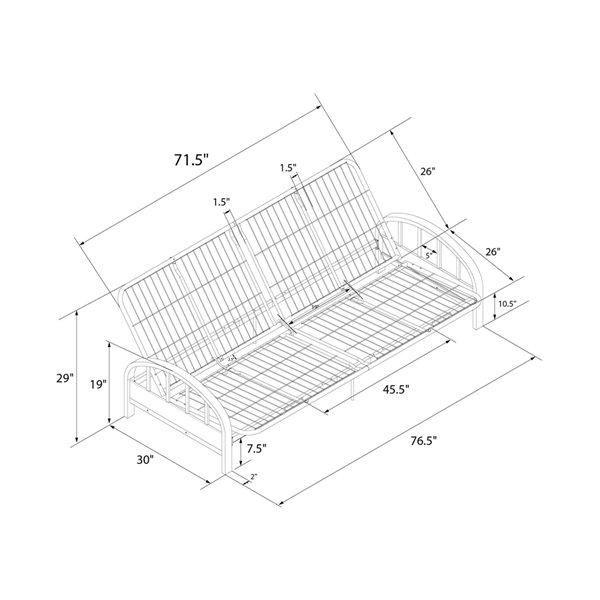 DHP Aiden Futon Frame - 76.5-in x 30-in x 29-in