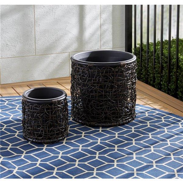 Cosco Outdoor Living Cosco Indoor Outdoor Nesting Pot Patio Planter Brown 87153brn1e Rona