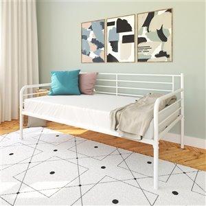 Canapé-lit en métal DHP, blanc