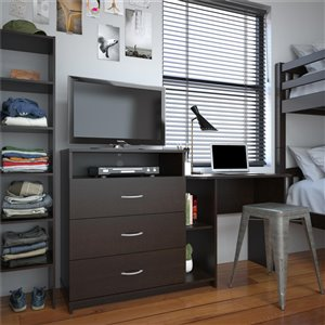 Rebel 3 in 1 Media Dresser and Desk Combo - Espresso