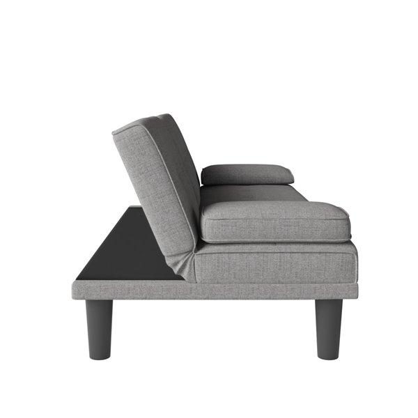 Canapé-lit avec porte-gobelet et 2 oreillers Marley de Dorel, gris