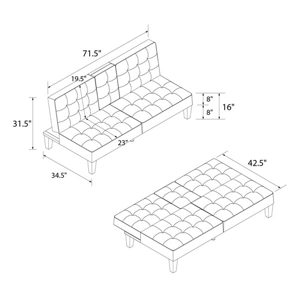 Julia Convertible Split Back Futon with Cup Holder