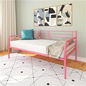 Canapé-lit en métal DHP, rose
