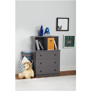 Skyler 3 Drawer Dresser with Cubbies - Graphite Gray