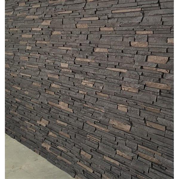 Panneaux Stacked Stone de Quality Stone, mélange de noir, paquet de 4