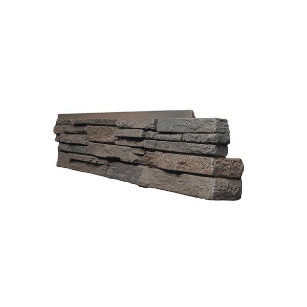 Coins droits Stacked Stone de Quality Stone, brun foncé, paquet de 4