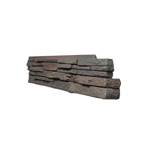 Quality Stone Stacked Stone - Right Corners - Dark Brown - 4-Pack