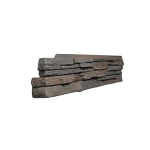 Quality Stone Stacked Stone - Left Corners - Dark Brown - 4-Pack