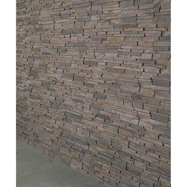 Panneaux Stacked Stone de Quality Stone, gris-brun, paquet de 4