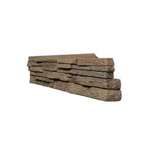 Coins droits Stacked Stone de Quality Stone, brun clair, paquet de 4