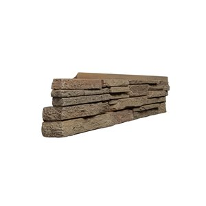 Quality Stone Stacked Stone - Left Corners - Light Brown - 4-Pack