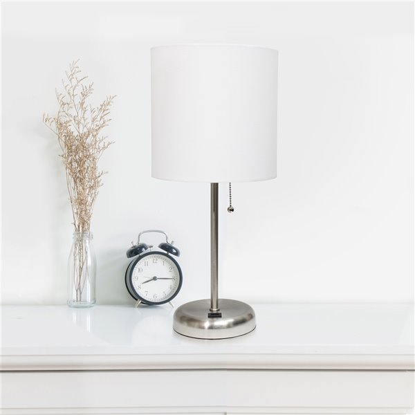 LimeLights Stick Lamp with USB charging port and Fabric Shade - Brushed Steel and White - 19.5-in