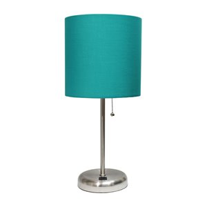 LimeLights Stick Lamp with USB charging port and Fabric Shade - Brushed Steel and Teal - 19.5-in