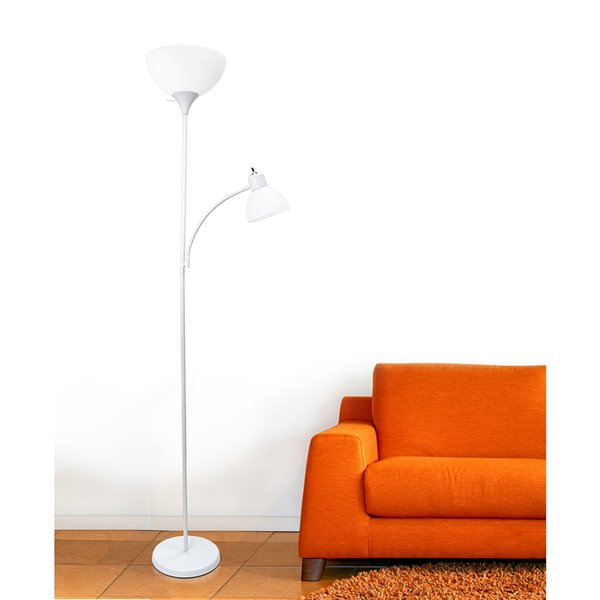 Simple Designs Floor Lamp With Reading Light 71 In Lf2000 Wht Rona