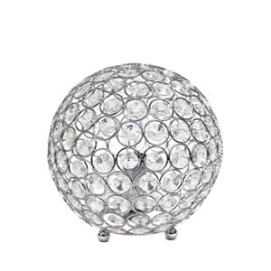 Elegant Designs Elipse 8 Inch Crystal Ball Sequin Table Lamp - Chrome - 8-in