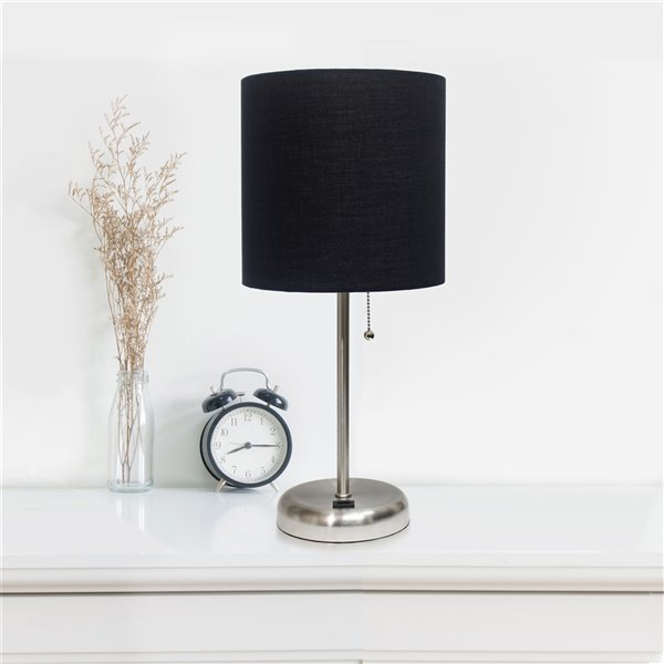 LimeLights Stick Lamp with USB charging port and Fabric Shade - Brushed Steel and Black - 19.5-in