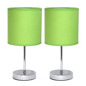 Simple Designs Chrome Mini Basic Table Lamp with Fabric Shade - Green and Chrome - Set of 2