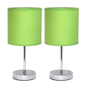 Mini lampes de table Simple Designs de base chromée avec abat-jour en tissu vert, ens. de 2