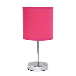 Simple Designs Chrome Mini Basic Table Lamp with Fabric Shade - Chrome and Hot Pink - 11-in