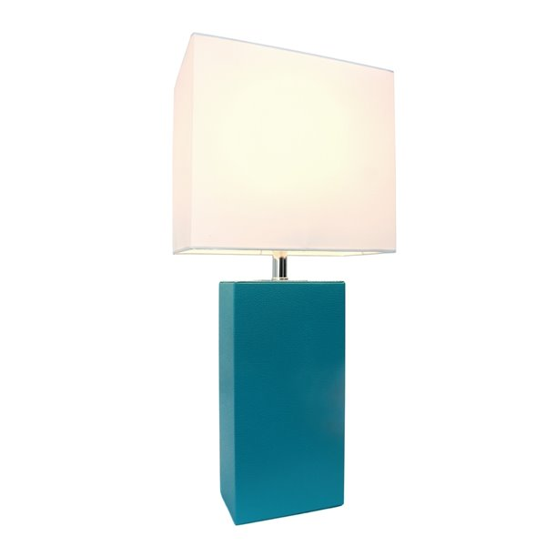 Elegant Designs Modern Leather Table Lamp with Fabric Shade - Teal and White - 21-in