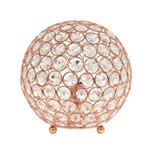 Elegant Designs Elipse 8 Inch Crystal Ball Sequin Table Lamp - Pink Gold - 8-in