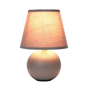 Simple Designs Mini Ceramic Globe Table Lamp - Grey - 8.66-in