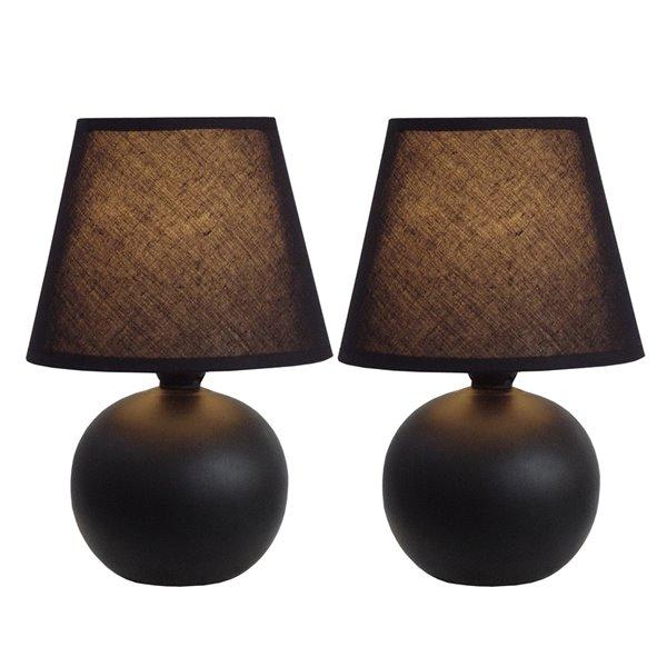 Simple DesignsMini Ceramic Globe Table Lamp Black - Set of 2